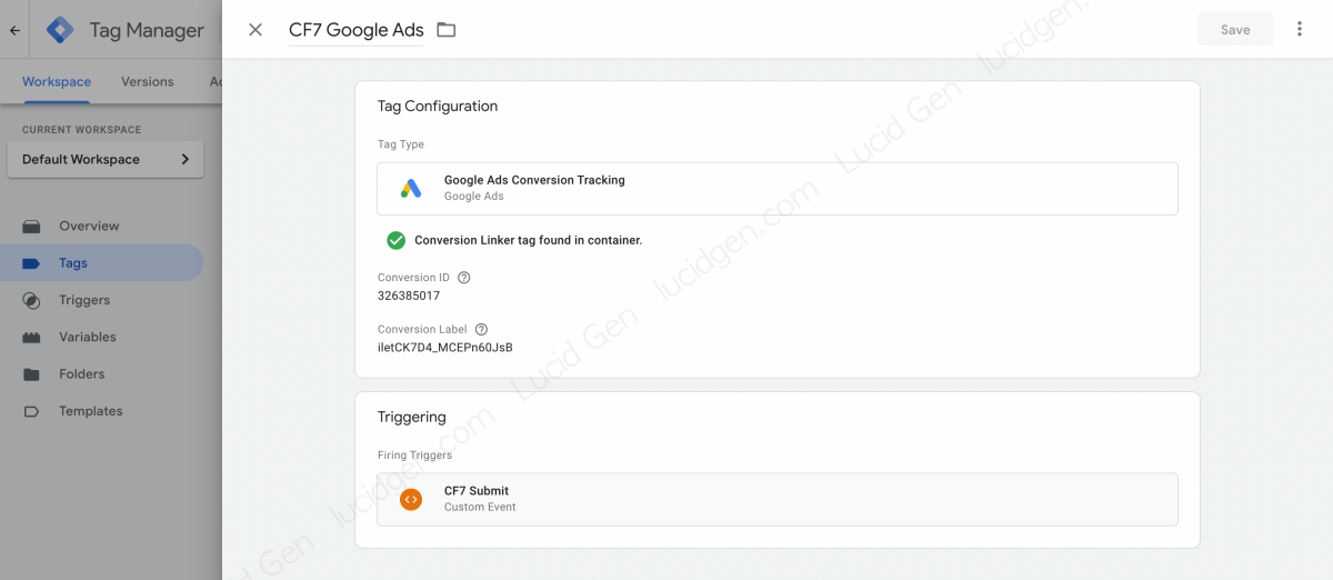 Create a Google Ads tag to track Contact Form 7 conversions